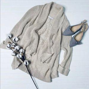 CAbi Natural Tan Teachers Pet Open Front Sweater